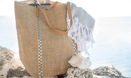 Metallic Jute Beach Bag