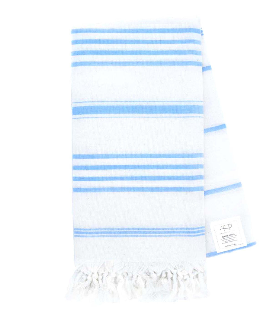 NATURAL TOWEL NATURAL WITH LIGHT BLUE STRIPES