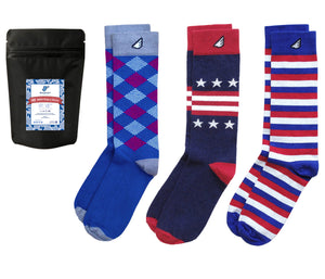 Patriotic USA Red White & Blue American Mens Dress Socks 3-Pack
