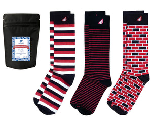 Black Red 3-pack Dress Casual Socks American-made