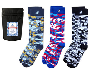 Digital Camo Gift 3-Pack Socks. American Made Gift Bundle