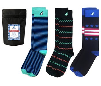 Colorful Black Patterned Dress Casual Socks Gift 3-Pack. American Made Bundle