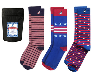 Patriotic Red White & Blue American Mens Dress Socks 3-Pack
