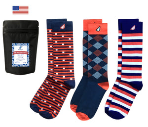 Navy Orange Gift 3-Pack Quality Fun Unique Crazy Dress Casual Socks UVA Broncos Bears Auburn Made in America USA
