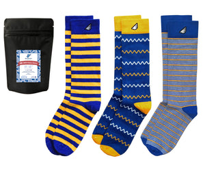 Men's Blue Gold Yellow Dress Casual 3-pack Socks American-made