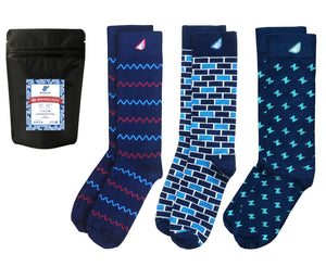 Navy Patterned Socks Gift 3-Pack. American Made Gift Bundle