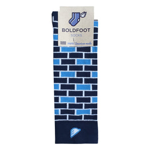 Brick Pattern Fun Unique Crazy Mens Dress Casual Socks Navy Sky Light Blue Made in America USA Packaging