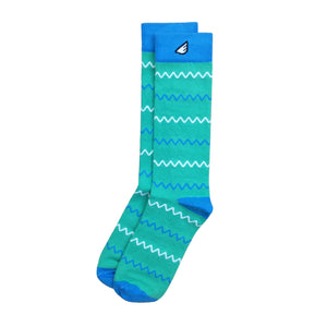 Chevron Pattern High Quality Fun Unique Crazy Dress Casual Socks Light Green White Sky Blue Made in America USA