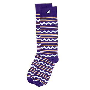Purple & Gold LSU Tigers, ECU Pirates Chevron & Stripe American-made Socks