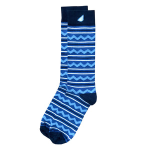 Cliffhanger - Royal & Sky Blue. American Made Dress / Casual Chevron & Stripes Socks
