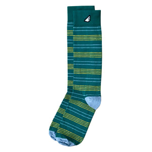 Daytripper - Green & Gold. American Made Dress / Casual Thin Stripe Socks