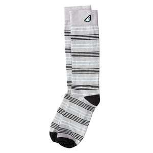 Daytripper - Khaki, Brown & White. American Made Dress / Casual Thin Stripe Socks