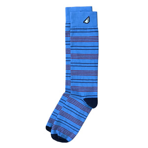 Daytripper - Sky Blue, Navy & Red. American Made Dress / Casual Thin Stripe Socks