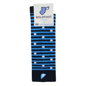 Carolina Panthers Quality Fun Unique Crazy Stripe Dress Casual Socks Black Sky Blue White Made in America USA Packaging