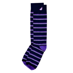 Gambler - Black, Purple & Light Grey. American Made Dress / Casual Stripe Socks