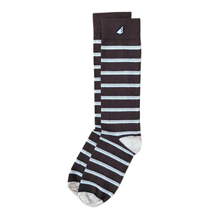 Gambler - Brown, Khaki & White. American Made Dress / Casual Stripe Socks