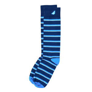 Gambler - Navy, Sky Blue & White. American Made Dress / Casual Stripe Socks