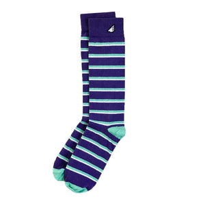 Gambler - Purple, Light Green & White. American Made Dress / Casual Stripe Socks