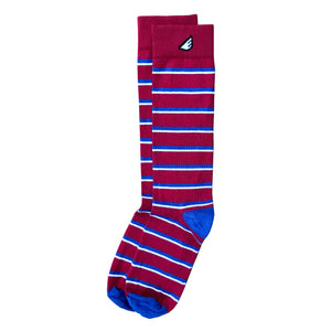 Gambler - Red, Royal Blue & White. American Made Dress / Casual Stripe Socks