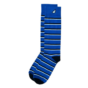 Gambler - Royal Blue, Black & White. American Made Dress / Casual Stripe Socks