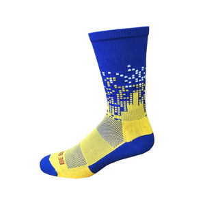 Headliner - Royal Blue & Gold. American Made Unique Athletic Socks
