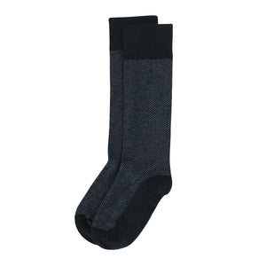Black Herringbone Men's Dress Sock Supima Cotton Made in USA