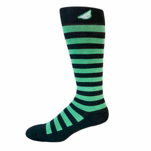 Jailbird - Black & Light Green. American Made Stripe 15-20mmHg OTC Compression Socks