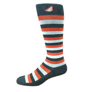 Jailbird - Dark Grey, Orange & Light Grey. American Made Stripe 15-20mmHg OTC Compression Socks