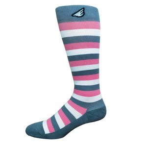 Jailbird - Light Grey, Pink & White American Made Stripe 15-20mmHg OTC Compression Socks