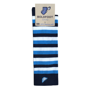 Villanova Quality Fun Unique Crazy UNC Tar Heels Stripe Dress Casual Socks Navy Sky Blue White Made in America USA Packaging