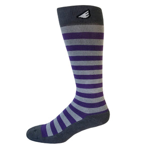 Jailbird - Purple & Grey. American Made Stripe 15-20mmHg OTC Compression Socks