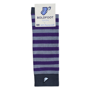 TCU Northwestern Quality Fun Unique Crazy Stripe Dress Casual Socks Purple Grey Made in America USA Packaging