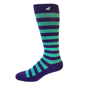 Jailbird - Purple & Light Green. American Made Stripe 15-20mmHg OTC Compression Socks