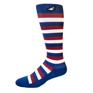Jailbird - USA. Red, White & Blue American Made Stripe 15-20mmHg OTC Compression Socks