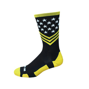 Fun Patriotic US Army Black Gold White American Flag Stars & Stripes Made in USA Athletic Running Work-out Socks Gift for Men & Women