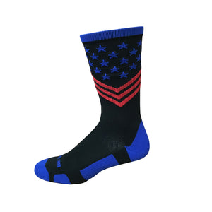 Fun Patriotic Black Royal Blue Red American Flag Stars & Stripes Made in USA Athletic Running Work-out Socks Gift for Men & Women