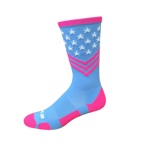Fun Patriotic Hot Pink White Sky Blue American Flag Stars & Stripes Made in USA Athletic Socks Gift for Men & Women