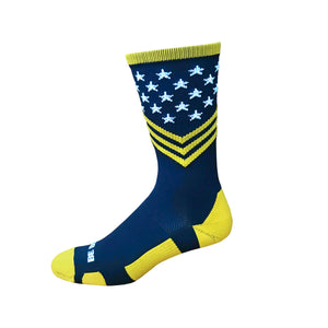 Fun Patriotic Naval Academy Navy Gold White American Flag Stars & Stripes Made in USA Athletic Running Work-out Socks Gift for Men & Women