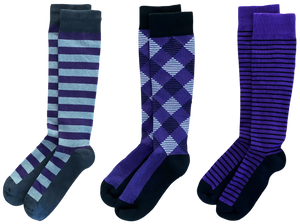Purple 3-pack of American Made 15-20mmHg OTC Compression Socks