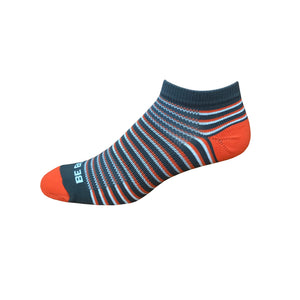 Racer - Dark Grey, Orange & White. American Made Stripe Ankle Athletic Socks