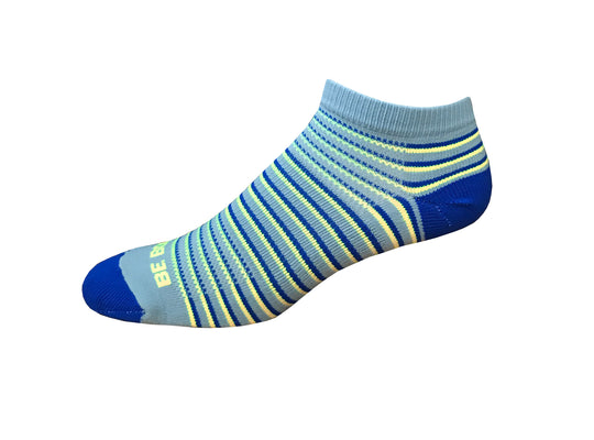 Racer - Light Grey, Royal & Neon Yellow. American Made Stripe Ankle Athletic Socks