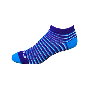 Racer - Purple, Electric Blue & White. American Made Stripe Ankle Athletic Socks
