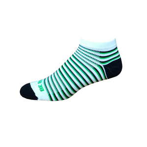 Racer - White, Navy & Lime. American Made Stripe Ankle Athletic Socks