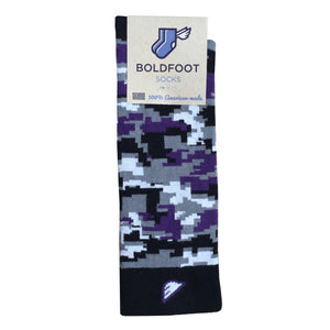 TCU Horned Frogs Baltimore Ravens Northwestern Digital Camo Camouflage Digicamo Quality Fun Unique Crazy Dress Casual Socks Black Purple Grey White Made in America USA Packaging