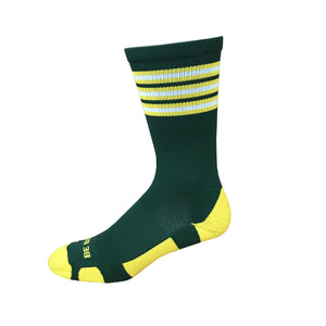 Rookie - Dark Green & Gold. American Made Unique Athletic Socks