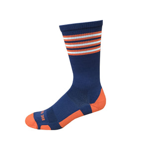 Rookie - Navy & Orange. American Made Unique Athletic Socks