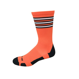 Rookie - Orange & Black. American Made Unique Athletic Socks