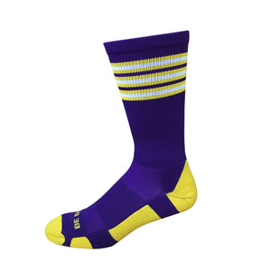 Rookie - Purple & Gold. American Made Unique Athletic Socks