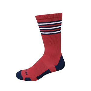 Rookie - Red & Navy. American Made Unique Athletic Socks