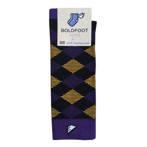LSU Tigers ECU Pirates JMU Argyle Quality Fun Unique Crazy Dress Casual Socks Black Purple Gold Made in America USA Packaging